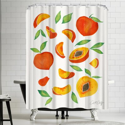 Cat Coquillette Peaches Shower Curtain