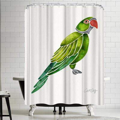 Cat Coquillette Perched Parrot Shower Curtain