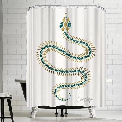 Serpent Skelet on Emerald Gold Shower Curtain