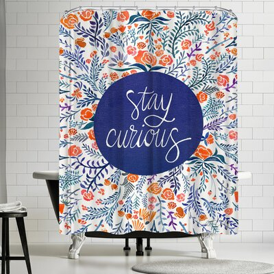 Stay Curious Red Navy Shower Curtain