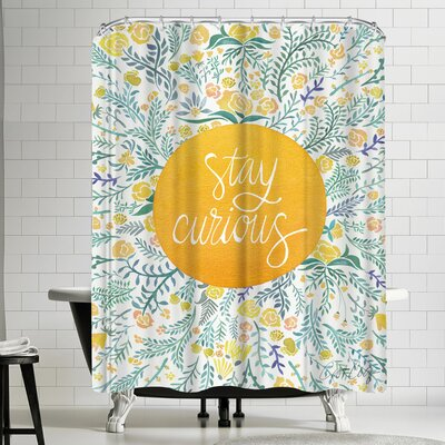 Cat Coquillette Stay Curious Yellow Shower Curtain