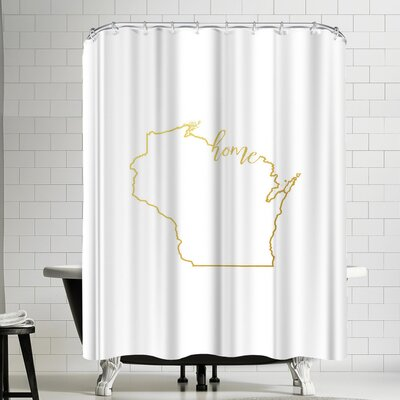 Paperfinch Wisconsin Home Gold Foil Shower Curtain