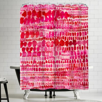 Paula Mills Pink and Red Watercolor Shower Curtain