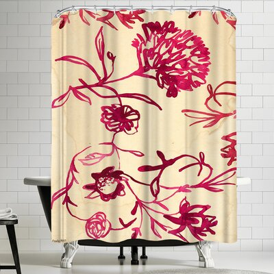 Paula Mills Pink Ink Floral Shower Curtain