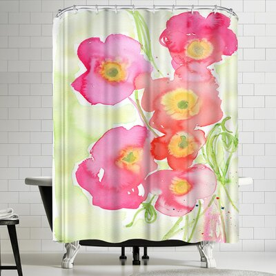 Paula Mills Pink Poppies Shower Curtain