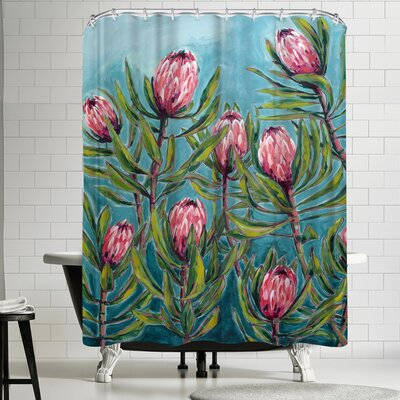 Paula Mills Pink Protea Painting Shower Curtain