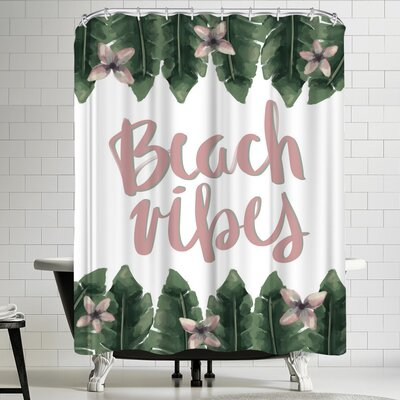 Jetty Printables Beach Vibes Typography Shower Curtain