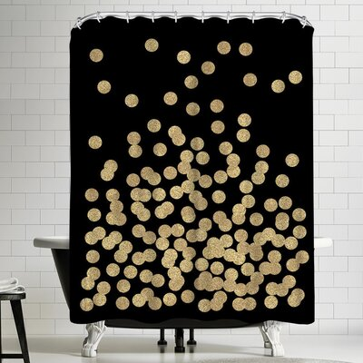 Charlotte Winter Gold Glitter Dots Shower Curtain