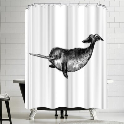 Jetty Printables Narwhal Illustration Shower Curtain