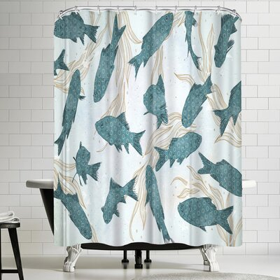 Tracie Andrews Blue Fish Shower Curtain
