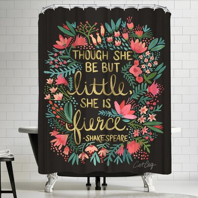 Cat Coquillette Little and Fierce on Charcoal Shower Curtain