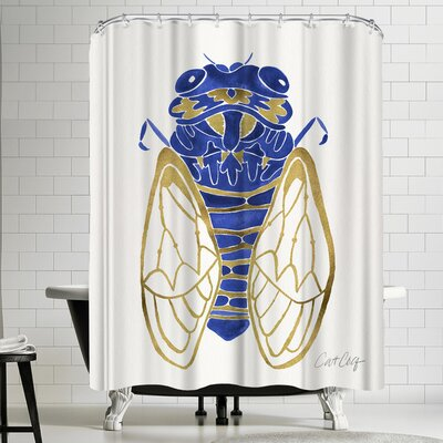 Navy Cicada Shower Curtain