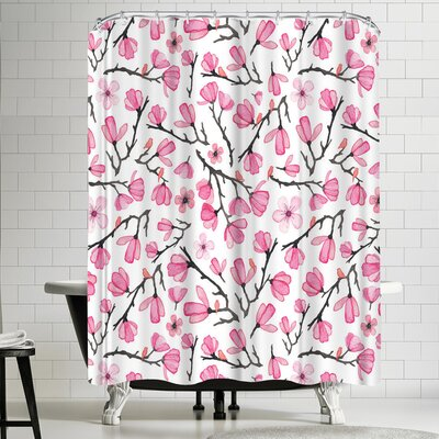Elena Oneill Pink Cherry Blossom Shower Curtain