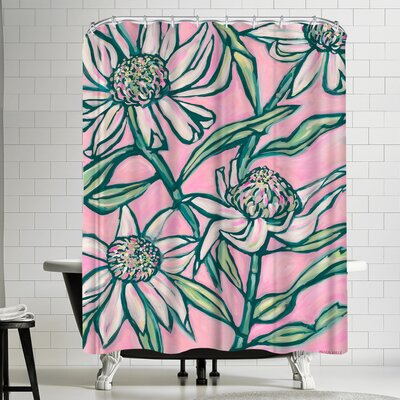 Paula Mills Pink Waratah Painting Shower Curtain