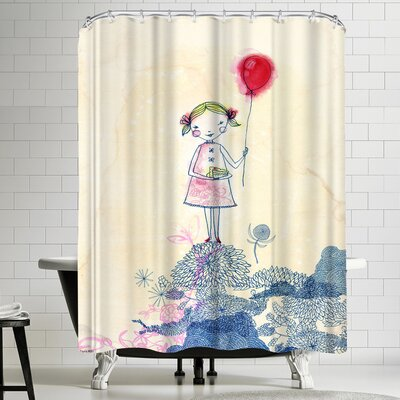 Paula Mills Red Baloon Girl Shower Curtain