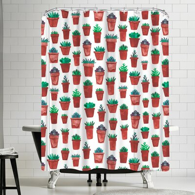 Elena Oneill Succulent Pots Shower Curtain