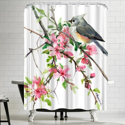 Suren Nersisyan Titmouse and Cherry Blossom Shower Curtain