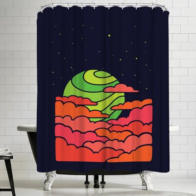 Joe Van Wetering The Green Moon Rises Shower Curtain