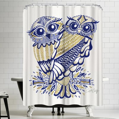 Inked Owls Shower Curtain