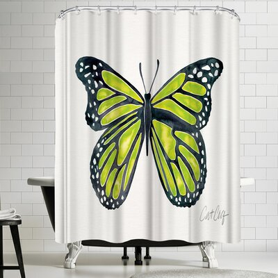 Cat Coquillette Lime Butterfly Shower Curtain