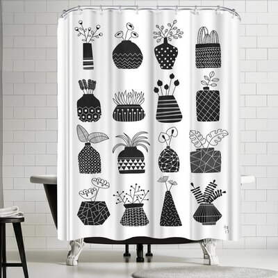 Ornamental Vases Monochrome Shower Curtain