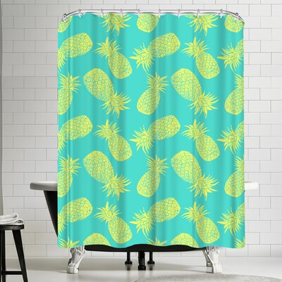 Pineapple Turquoise and Lemon Shower Curtain