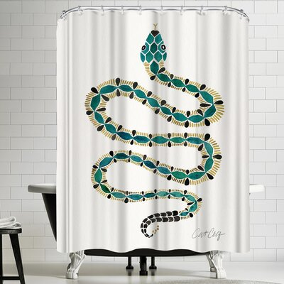 Emerald Gold Serpent Shower Curtain