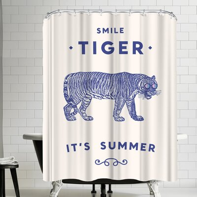 Florent Bodart Smile Tiger Shower Curtain