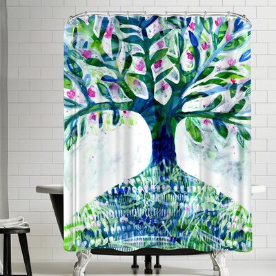 Paula Mills Blue Floral Tree Shower Curtain