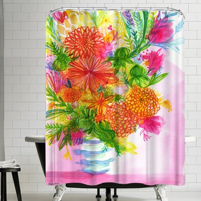 Paula Mills Blue Striped Vase Shower Curtain