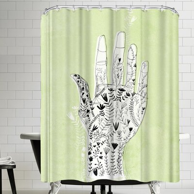 Paula Mills Floral Hand Green Shower Curtain
