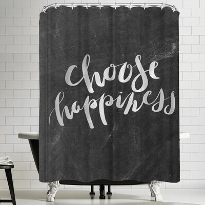 Jetty Printables Silver Chalkboard Choose Happiness Typography Shower Curtain