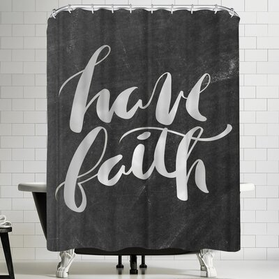 Jetty Printables Silver Chalkboard Have Faith Typography Shower Curtain