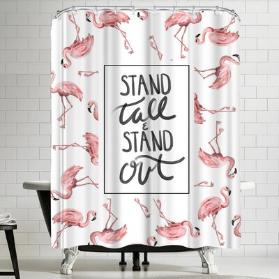 Jetty Printables Stand Tall and Stand Out Flamingo Typography Shower Curtain