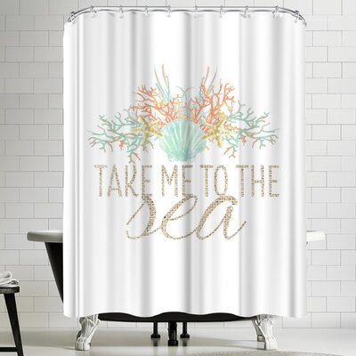 Jetty Printables Take Me to the Sea Typographic Art Shower Curtain