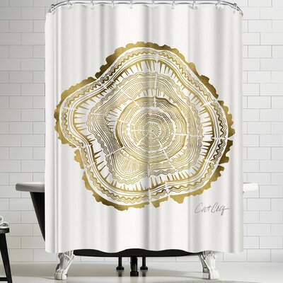Cat Coquillette Gold Tree Rings Shower Curtain