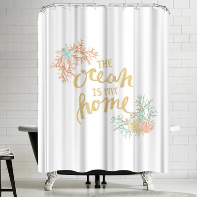 Jetty Printables The Ocean is My Home Typography Shower Curtain