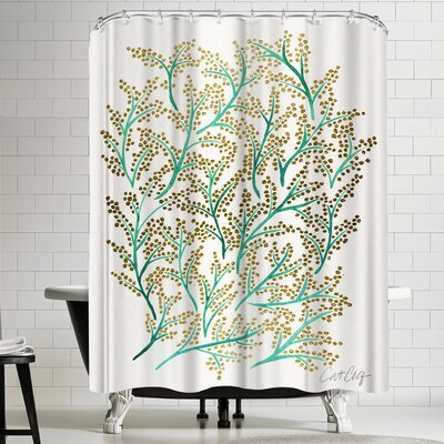 Cat Coquillette Green and Gold Branches Shower Curtain