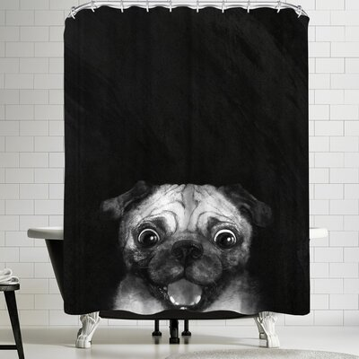 Laura Graves Snuggle Pug Shower Curtain