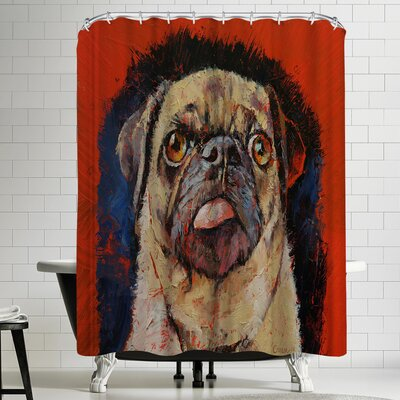 Michael Creese Pug Dog Portrait Shower Curtain