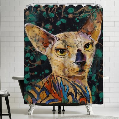 Michael Creese Tattooed Sphynx Cat Shower Curtain