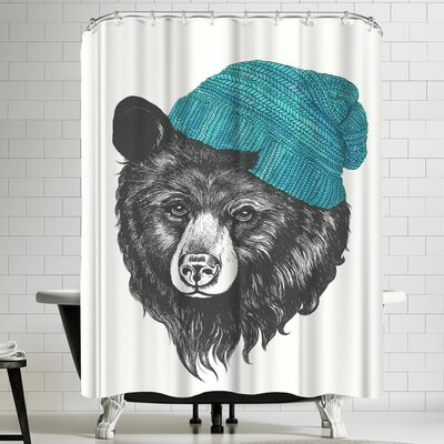 Laura Graves Zissou the Bear Blue Shower Curtain