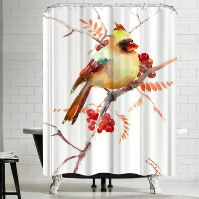 Suren Nersisyan Cardinal Bird and Berries Shower Curtain