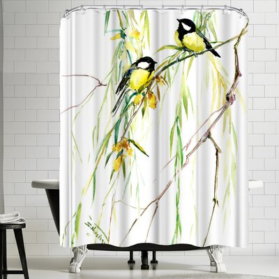 Suren Nersisyan Great Tits and Willow Shower Curtain