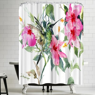 Suren Nersisyan Hibuscus and Hummingbird Shower Curtain