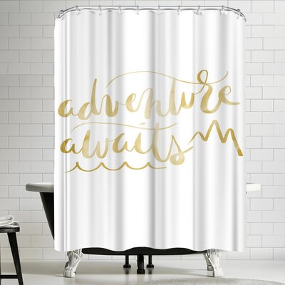 Jetty Printables Gold Adventure Awaits Typography Shower Curtain