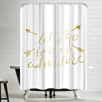 Jetty Printables Gold Adventure Typography Shower Curtain