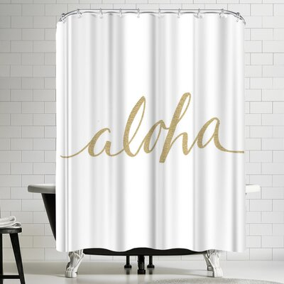 Jetty Printables Gold Aloha Typography Shower Curtain