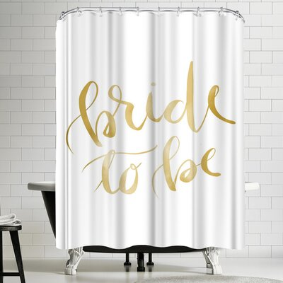 Jetty Printables Gold Bride to Be Typography Shower Curtain
