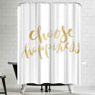 Jetty Printables Gold Choose Happiness Typography Shower Curtain